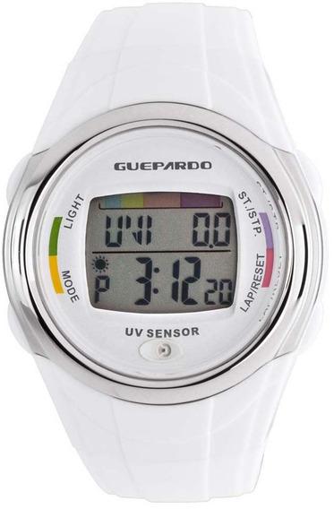 Relógio Digital Guepardo Com Indicador Ultravioleta Uv White