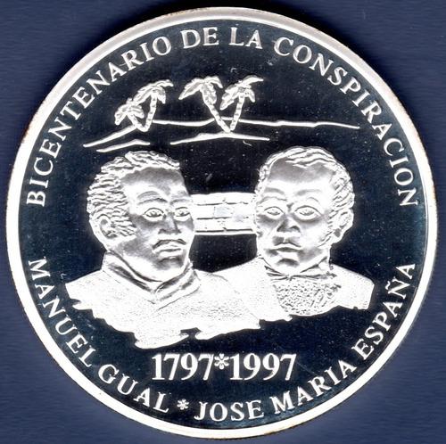 Imagen 1 de 2 de Moneda 500 Bs De 1997 Conspiración Gual Y España Plata Proof