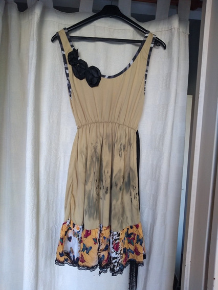 Vestido De Diseño Único Color Champagne Talle S/m. Divino!!