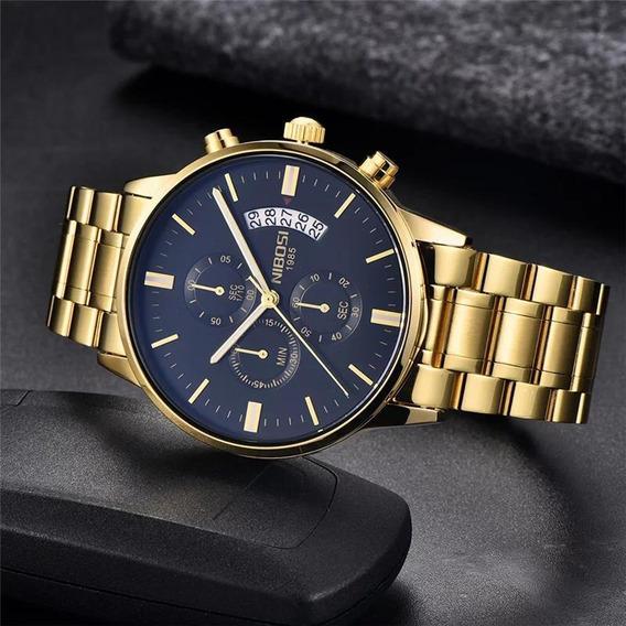 Relógio Nibosi Inox Masculino Dourado Com Escuro