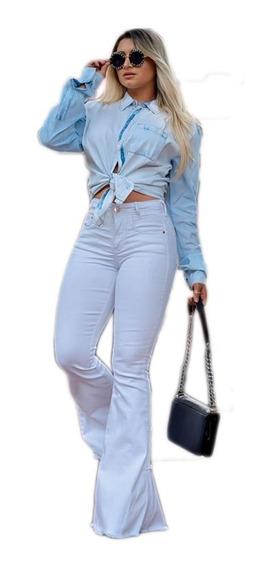 Blusa Camisa Feminina Jeans Manga Longa Pedras Bordada