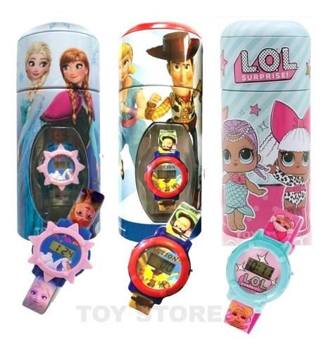 Reloj Niños + Alcancía Lol-frozen-toy Story 4 Licencia Orig.