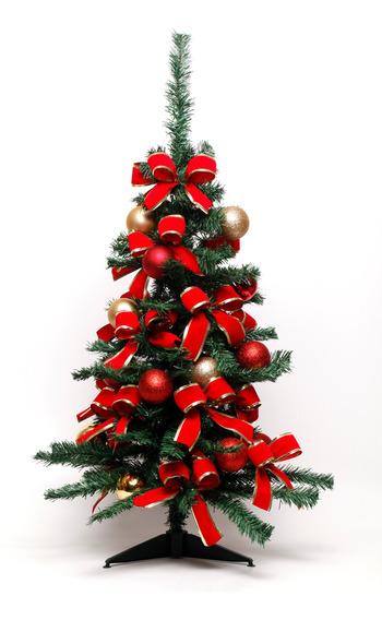 Kit Árvore De Natal Decorada 90cm 100 Hastes Com 44 Enfeites