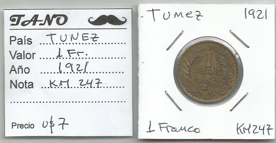 M215 Túnez Moneda 1 Franco 1921 Km# 247 Hermosos Detalles