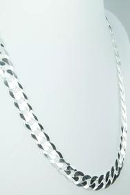 Cordão Corrente Italiana Groumett Larga De 60cm Em Prata 925