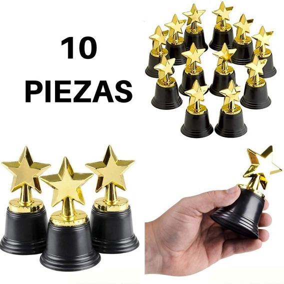 10 Trofeos Estrella Premio Estatuilla Dorada 10cm Fiesta Awa