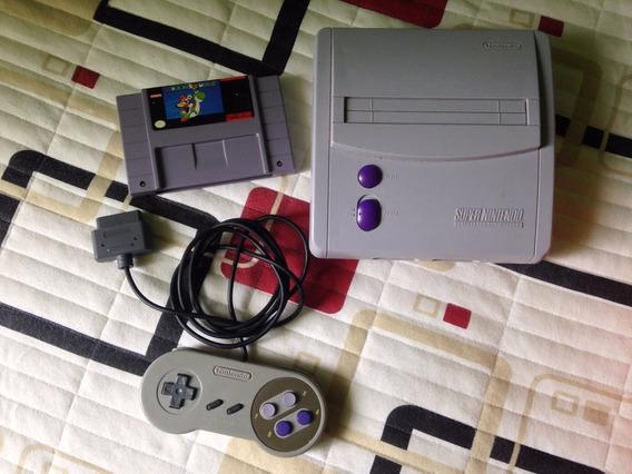 Super Nintendo + 1 Controle E Jogo Super Mario World