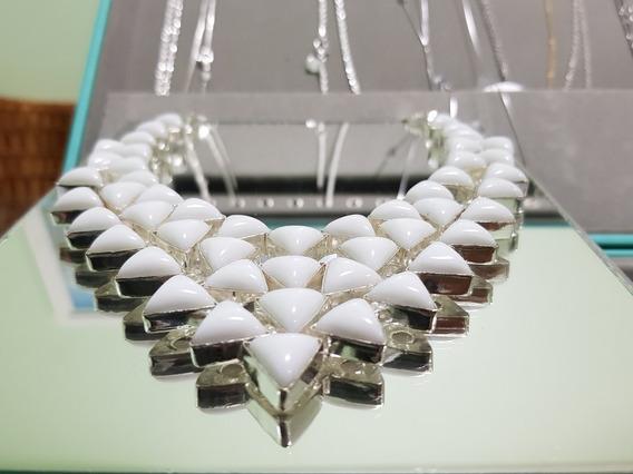 Colar Em Prata 925 Com Coral Branco Natural