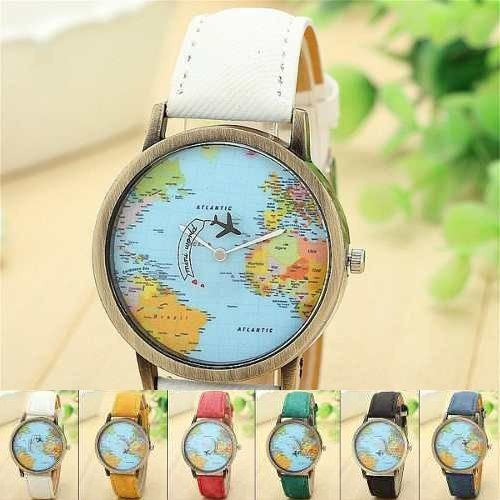 Relógio Mapa Mundo Viagem Avião Presente Qualidade Mapinha
