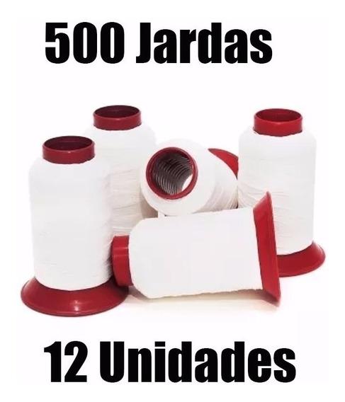 Linha 10 De Pipa, 500 Jardas Branca 100% Algodão C/ 12 Tubos