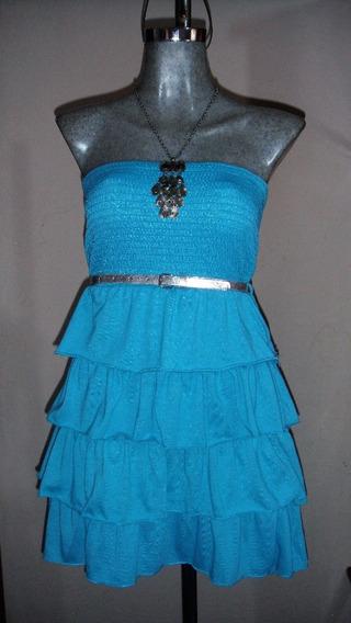 Mini Vestido Con Holanes, Incluye Cinturón L/g [11-13] (36)