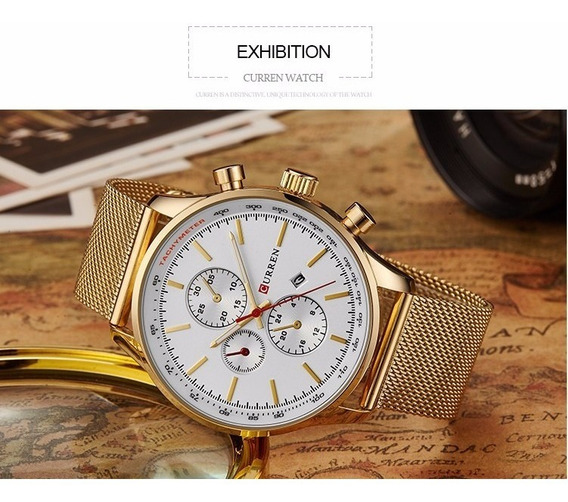 Relógio Curren Elegante Masculino Dourado Pulseira Em Metal