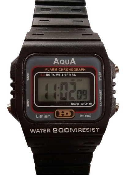 Relogios Masculinos Aqua Digital Preto Prova Dágua Wr200-m