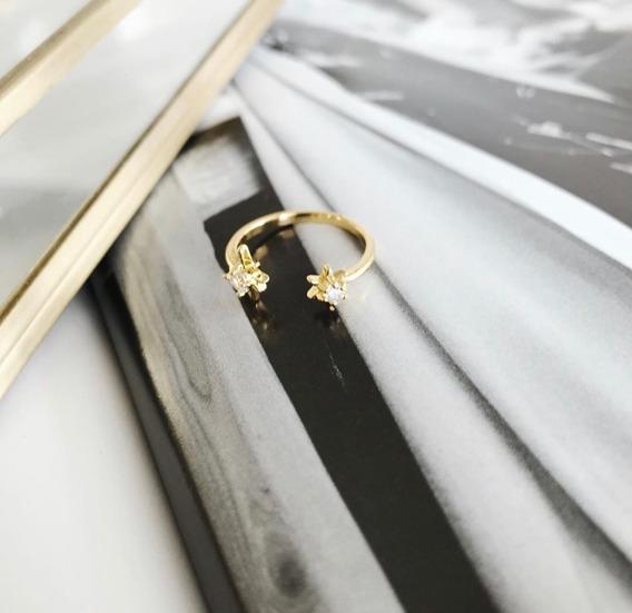Anillo Ajustable Estrellas Con Zirconias Blancas Chapa Oro