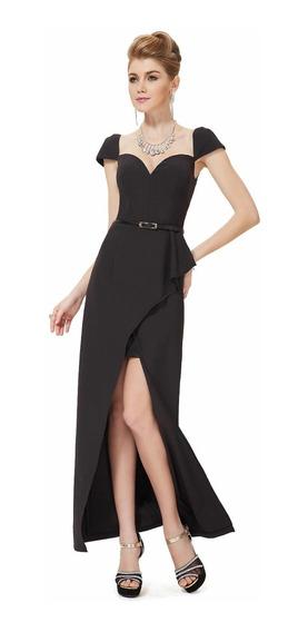 Elegante Vestido De Fiesta Negro Talle M Importado