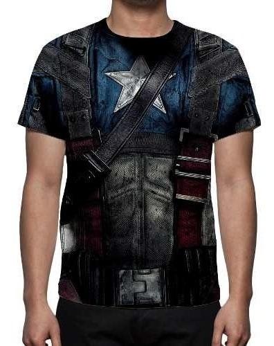 Camisa Camiseta Uniforme Capitão América - Estampa Total