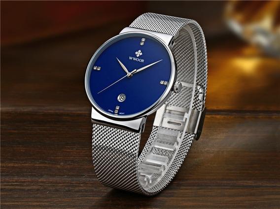 Relógio Masculino Azul Ultrafino Luxuoso Original C/ Caixa - Modelo 8018 De Luxo Importado Wwoor Lancamento 2018