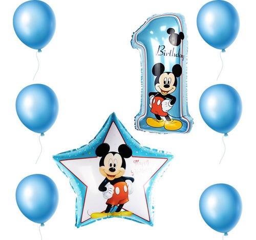Imagen 1 de 3 de Paquete Globos Metalicos Mickey Mimi Minnie Fiesta 8pz