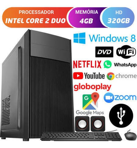 Computador Cpu Intel Core 2 Duo Dvd 4gb Hd 320gb Windows 8