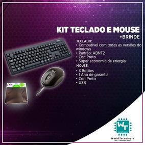 Kit Teclado E Mouse Usb Preto + Brinde -pisc