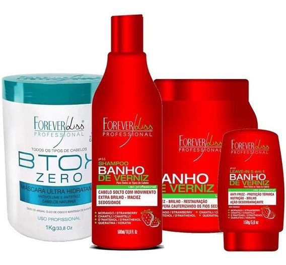 Kit Banho Verniz Morango E Botox Zero 1kg Forever Liss