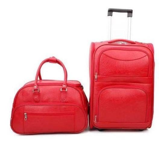Kit Quadrada Vermelho A Bordo + Mala De Mão Aceito A Bordo 2 Bolsos Foscas (55x35x20)