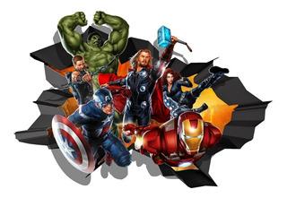 Avengers Rompiendo Tu Muro - Sticker Vinilo Adhesivo Gigante