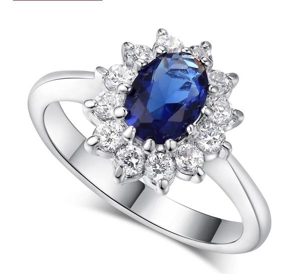 Anillo De Comproniso Gema Azul De Kate Middleton
