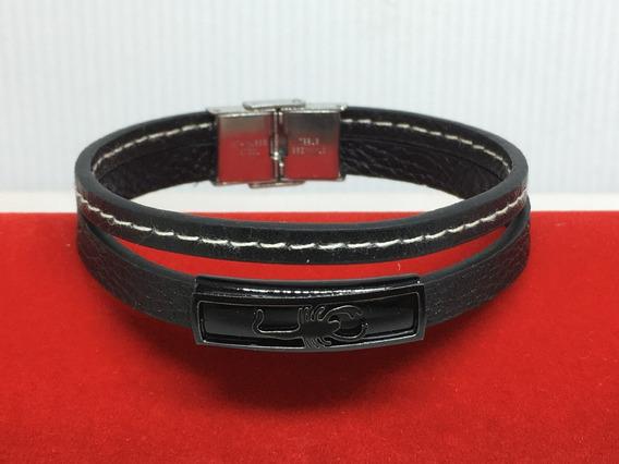 Pulseira Bracelete Couro Preto E Aço - Costura Branca Cod.11