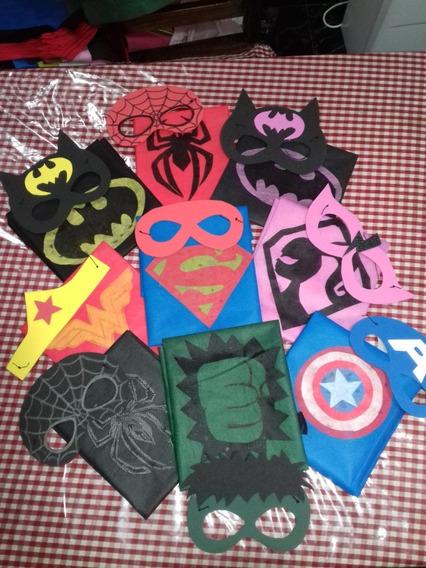 Capas +antifaz Superheroes Infantiles X 40 Unid