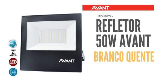 Refletor Slim Led 50w Avant Branco Quente Ip65