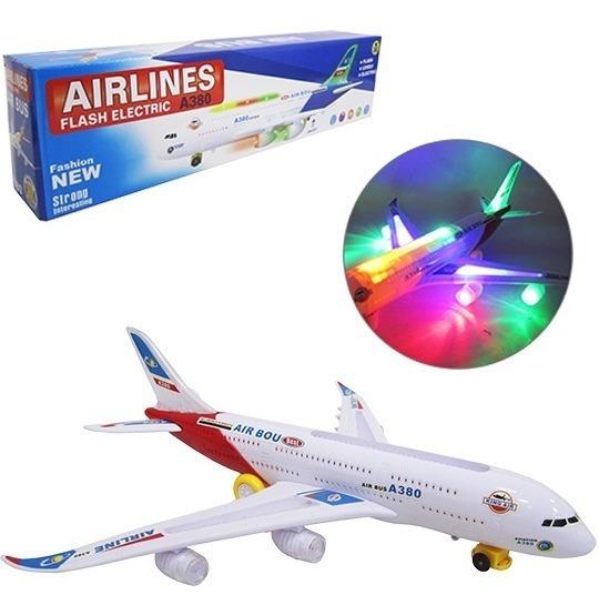 Avião Air Liner A-380 Brinquedo Com Luz Som E Movimento 44cm