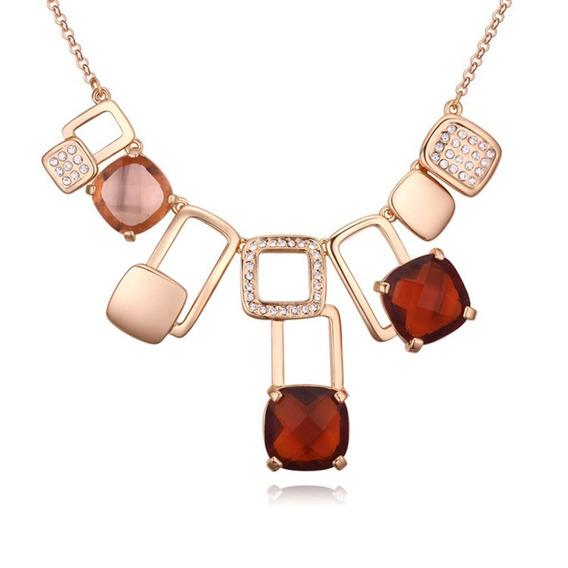 Collar Con Cristales Ocean Heart Oh16-821-baño De Oro