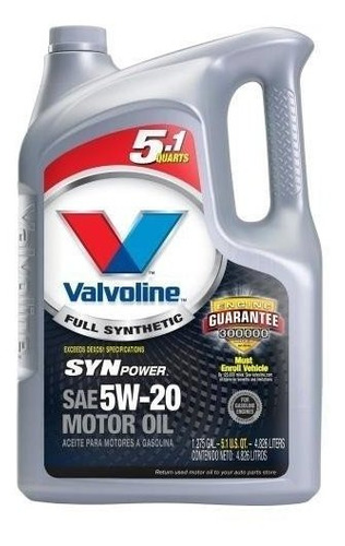 Imagen 1 de 2 de Valvoline Synpower 5w20 X 4,73 Lts.