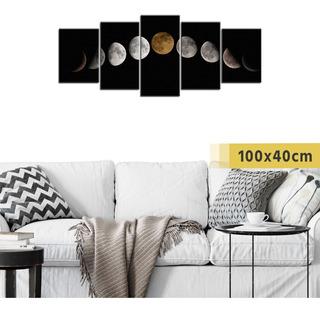 Cuadro Políptico Grande Fases Lunares Noche Cielo Luna Deco