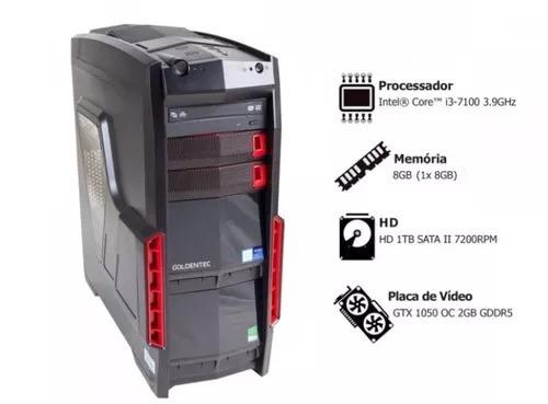Computador Gamer: Core I3-7100 3.9ghz, Memória 8gb, Hd 1tb
