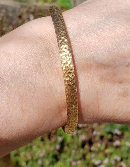 Bracelete Pulseira Em Ouro 18k Martelado E Texturizado