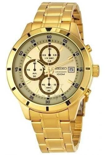 Reloj Hombre Seiko Sks566 Cronografo 100m Dorado Original