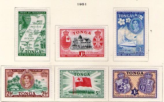 Tonga 6 Sellos Nuevos Choza, Canoa, Escudos, Barco Año 1951