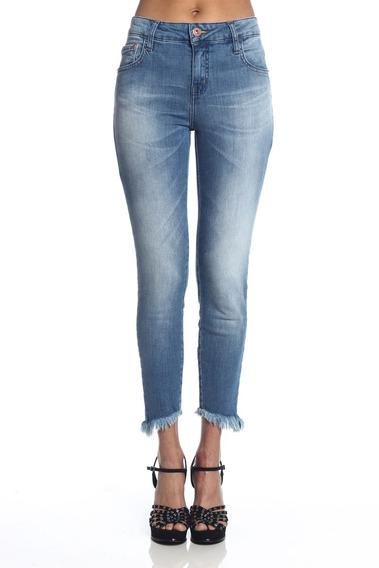 Calça Jeans Feminina Coca-cola Cigarrete Barra Desfiada 2320