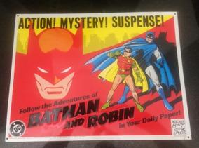 Placa Metal Alto Relevo - Batman E Robin - Original Dc 1990