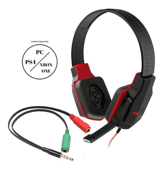 Fone Headset Gamer Multilaser Ph073 + Adaptador P/ Xbox-one E Ps4 Pc Smartphone, Som Do Jogo E Chat Barato P2 P3 3.5mm