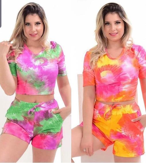 Conjunto Tai Day Shorts + Cropped Mancha Colors Preço Baixo