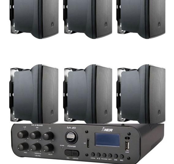 Kit Som Ambiente Ampl Bluetooth Sa20 100w + 06cxs Jbl C521p