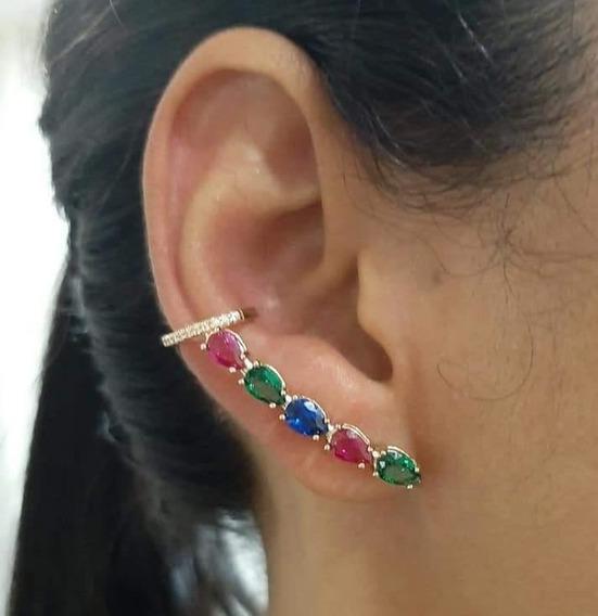 Brinco Rommanel Ear Cuff Zircônias Coloridas 526497