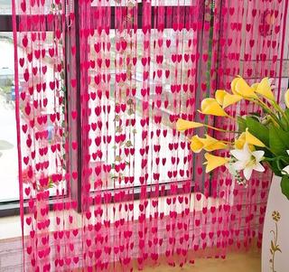 Cortina De Coração Pink Importada Pronta Entrega Brasil
