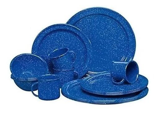 Vajilla Vintage Peltre Azul Real 16pzs Rustik By Cinsa