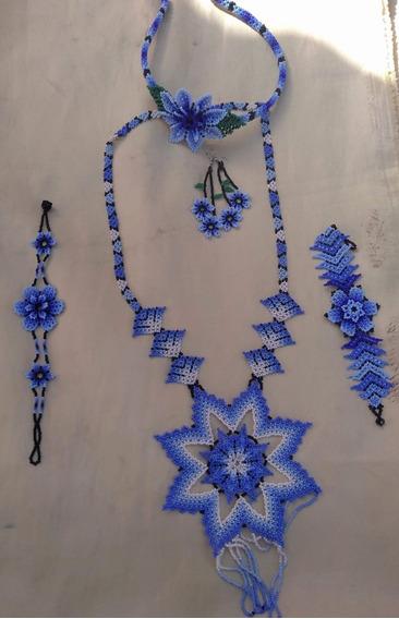 Conjunto De Accesorios Azul Huichol (5 Piezas)