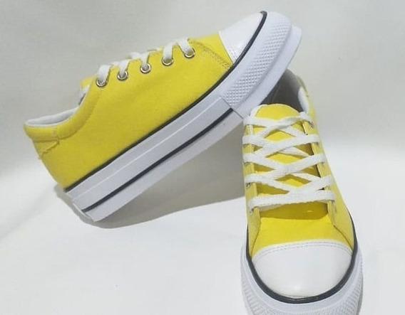 Zapatillas Amarilla Con Suela Alta - De Lona
