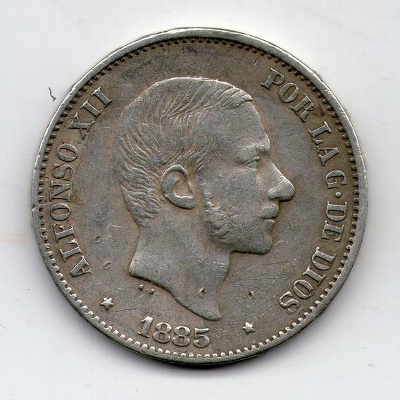 Filipinas Bajo España Moneda D Plata 50 Centimos 1885 Km#150